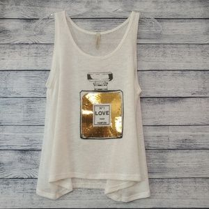 Pink Berry gold sequined perfume bottle tank top